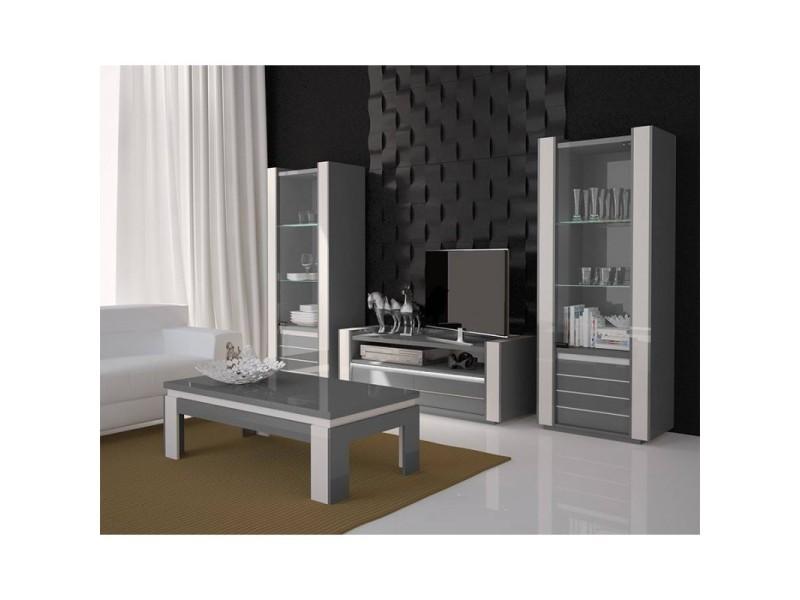 Ensemble pour votre salon lina. Meuble tv hifi + table basse + deux vitrines petit modèle + led. Meubles design haute brillance