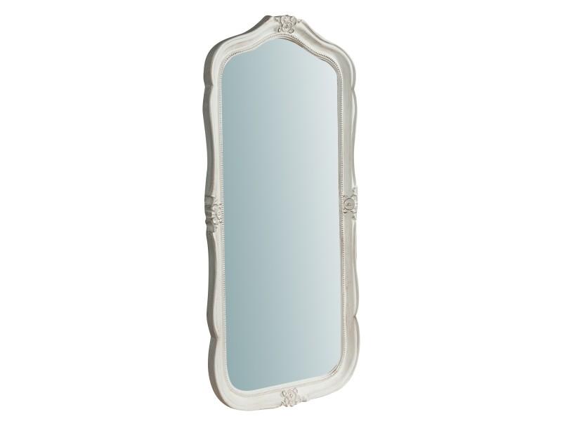 Miroir, long miroir mural rectangulaire, à accrocher au mur, horizontal et vertical, shabby chic, salle de bain, chambre à coucher, cadre finition blanche antique, grand, long, l47xp4xh100 cm. Style shabby chic.