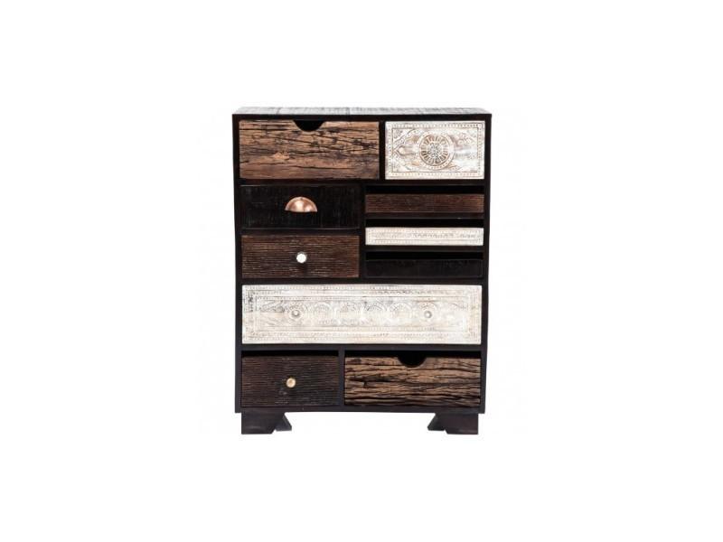Buffet haut 10 tiroirs bois marron exotique finca