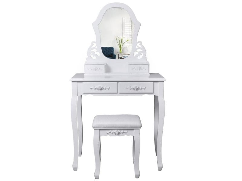 coiffeuse bois avec grand miroir et 4 tiroirs et tabouret table maquillage blanc helloshop26. Black Bedroom Furniture Sets. Home Design Ideas