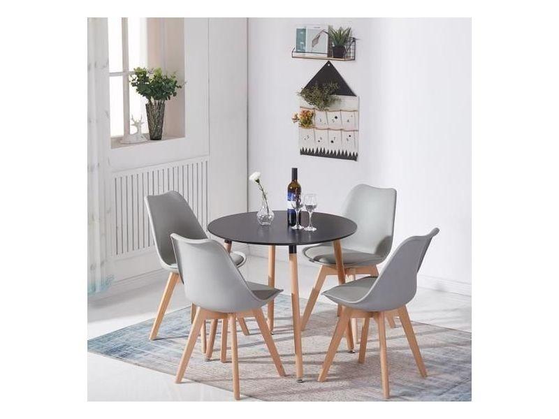 Table A Manger Complet De 2 A 4 Personnes Hetre Noir Table 4 Gris