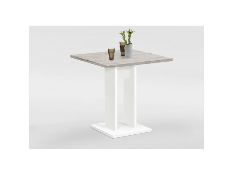 Fmd table de salle à manger 70 cm chêne sable et blanc 428692