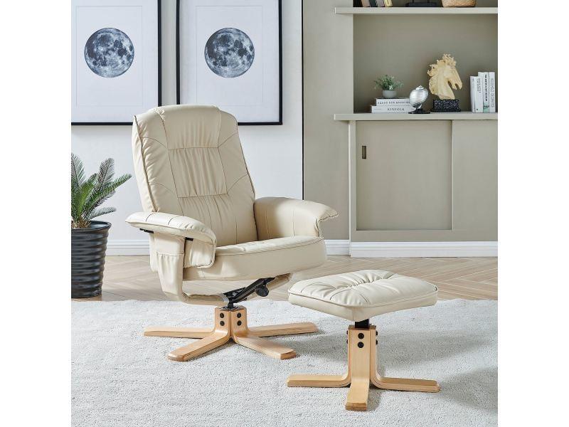 Fauteuil de relaxation charly avec repose-pieds pouf siège pivotant dossier  inclinable assise rembourrée relax. prevnext c4cc3a7c53b1