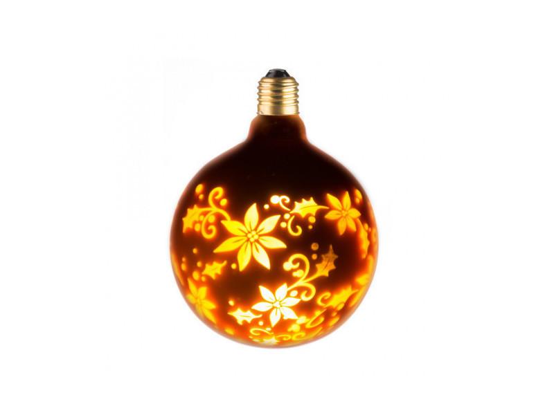 Ampoule lampe déco doré fleur g125 e27