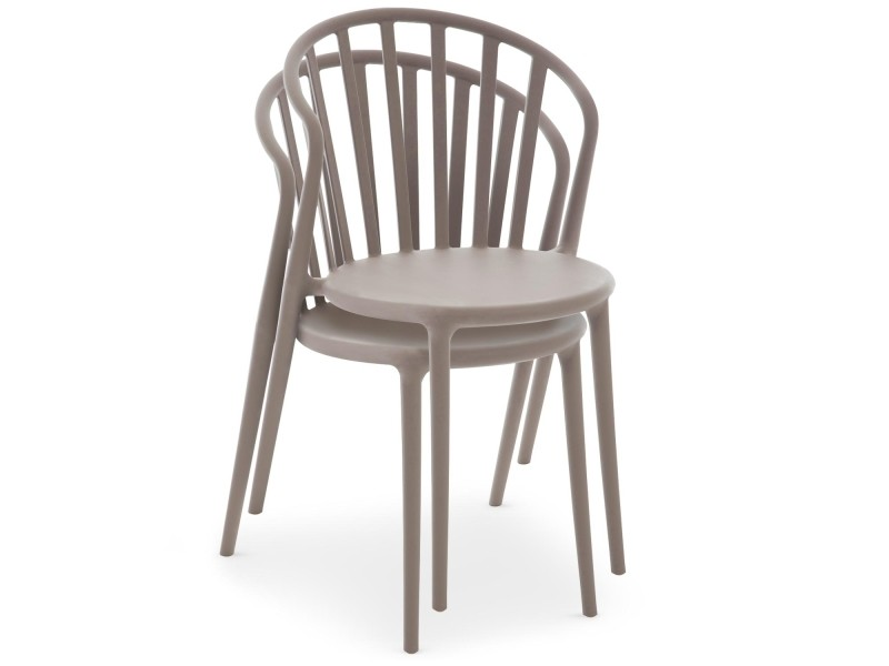Empilables De Olvida Lot Chaises Cotecosy Clair Taupe 2 Vente 7g6Yfby