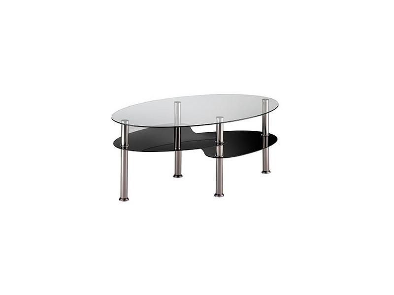 Table basse en verre trempé transparent et noir