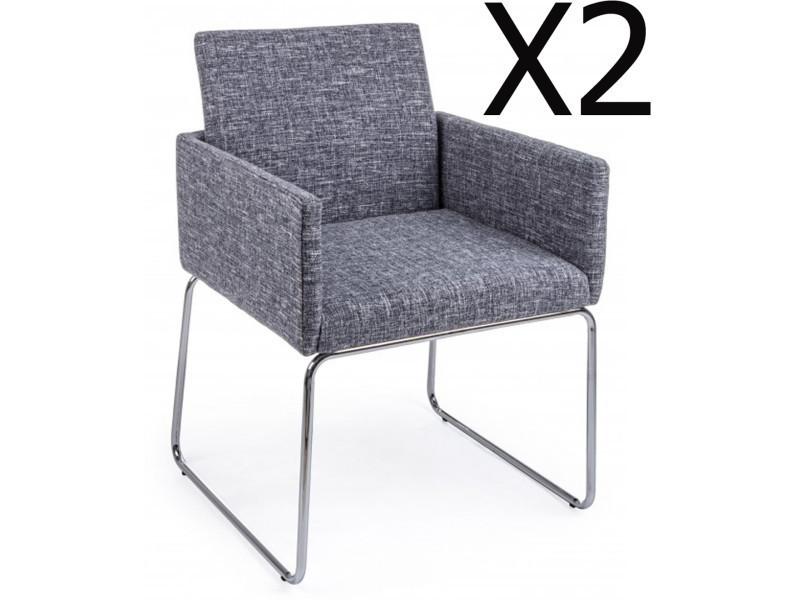 Lot de 2 fauteuils en fer et contreplaqué coloris gris - dim : l 60 x p 54 x h 80,5 cm -pegane-