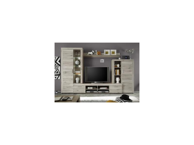 Fiesta meuble tv mural avec led contemporain mélaminé décor chene sablé - l 301 cm