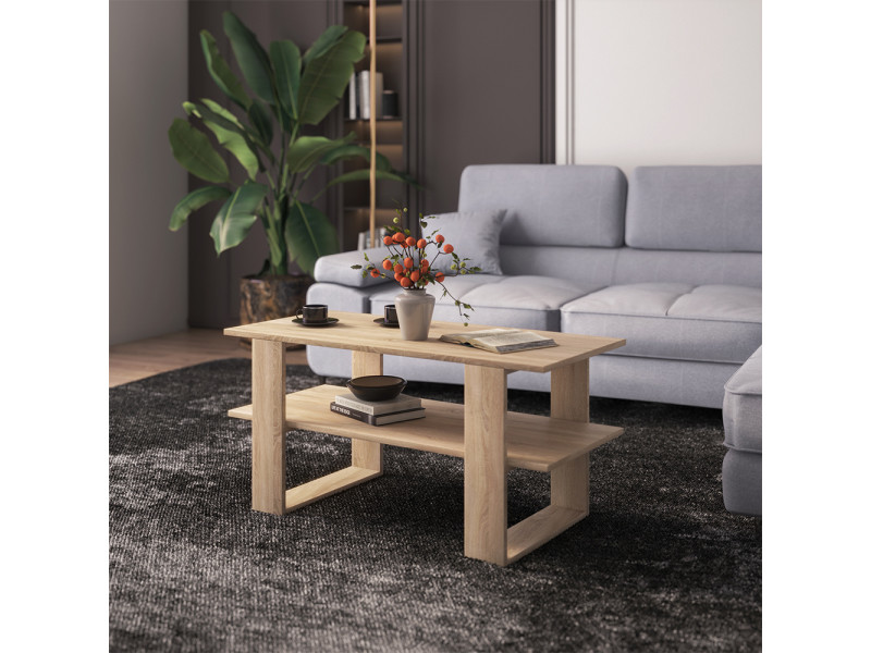 Table basse - bermer - 120x55 cm - chêne sonoma - style scandinave
