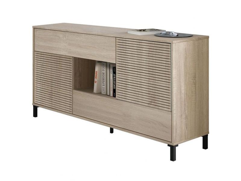 Buffet avec 2 portes et 2 tiroirs coloris chêne canadien / impression digitale - hauteur 80 x longueur 151 x profondeur 41 cm
