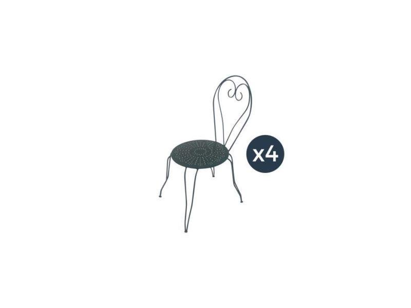 Chaise de jardin - fauteuil de jardin - tabouret de jardin lot de 4 chaises de jardin romantique empilable en fer forgé - vert/gris