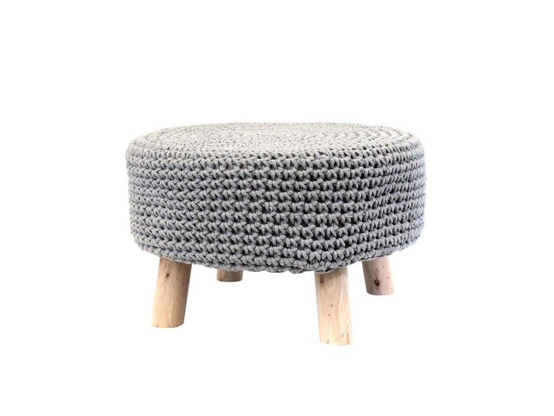 pouf tresse pieds bois scandinave gris perle vente de ego design conforama. Black Bedroom Furniture Sets. Home Design Ideas