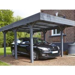 Carport simple 15,75m² en bois lasuré gris anthracite louison madeira