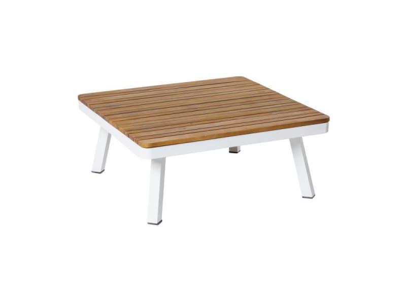 Table basse d'extérieur bois/aluminium blanc - solor - l 75 x l 75 x h 31 - neuf