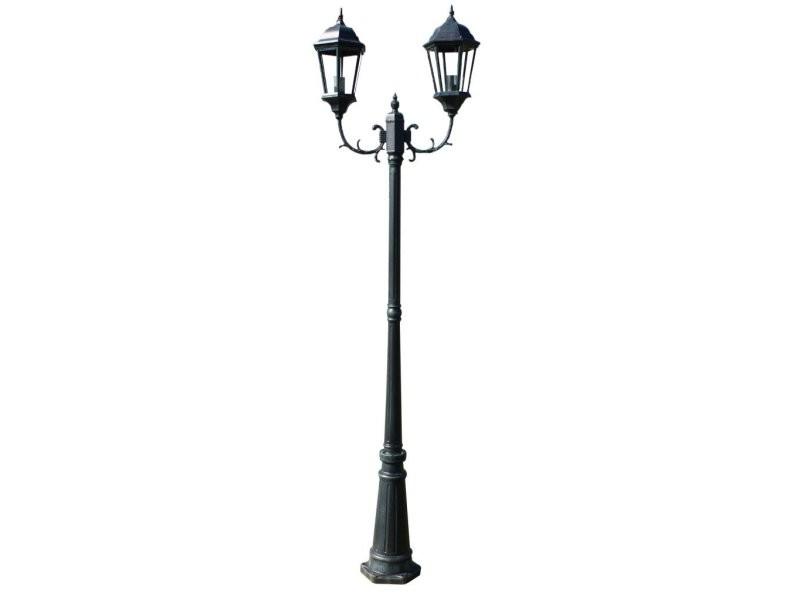 Lampadaire extérieur double noir 230 cm luminaire décoration helloshop26 2402087