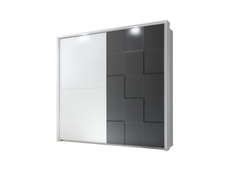Armoire 2 portes coulissantes 220 cm blanc/gris mat à leds - ticato - l 229 x l 64 x h 210 - neuf