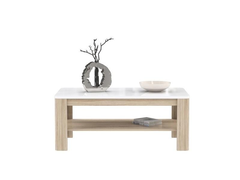 Table basse rectangulaire plateau laqué blanc et piétement bois - alexiane