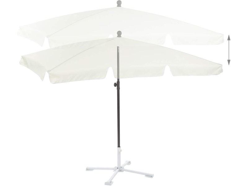 Parasol rectangulaire de plage de jardin hauteur réglable inclinable 200 x 120 cm blanc helloshop26 13_0001935_2
