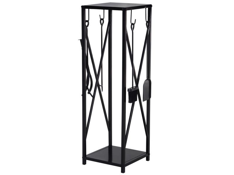 Serviteur de cheminée colonne - porte bûches - range bûches multi accessoires dim. 34l x 34l x 111h cm acier noir