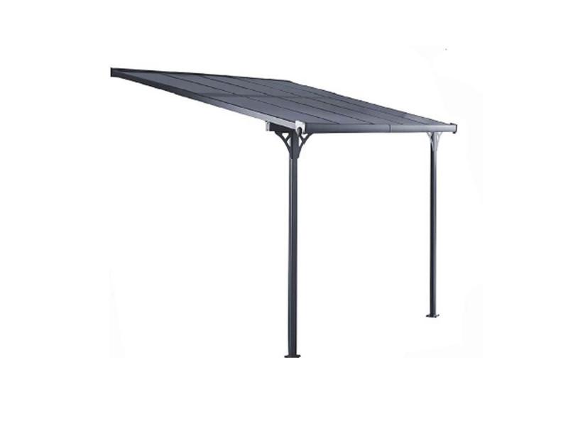 Auvent elliot 11 m² d'aluminium et polycarbonate gardiun 436x255x222/262 cm