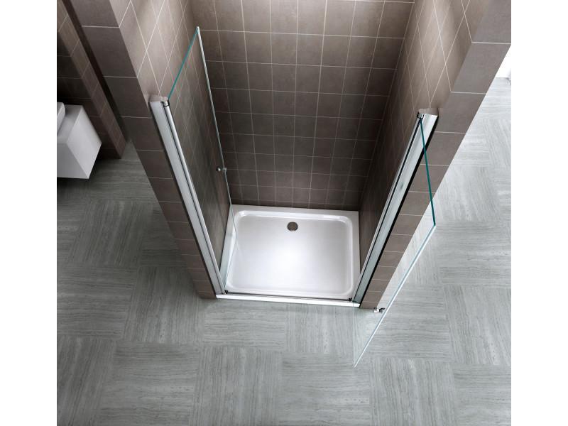 porte de douche 92x185 cm largeur r glable verre transparent avec traitement nano anti