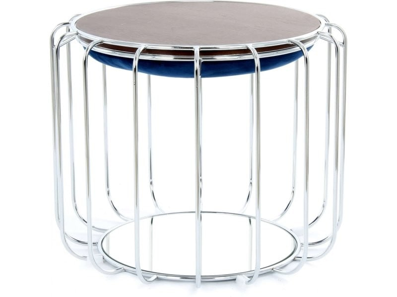 Pouf reverse table d'appoint confortable silver 4DPRB