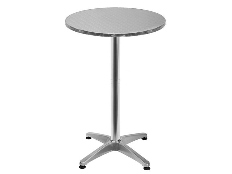 Table de bar - table haute hombuy - bistrot aluminium - réglable en hauteur - 2 en 1 - 70-110 cm