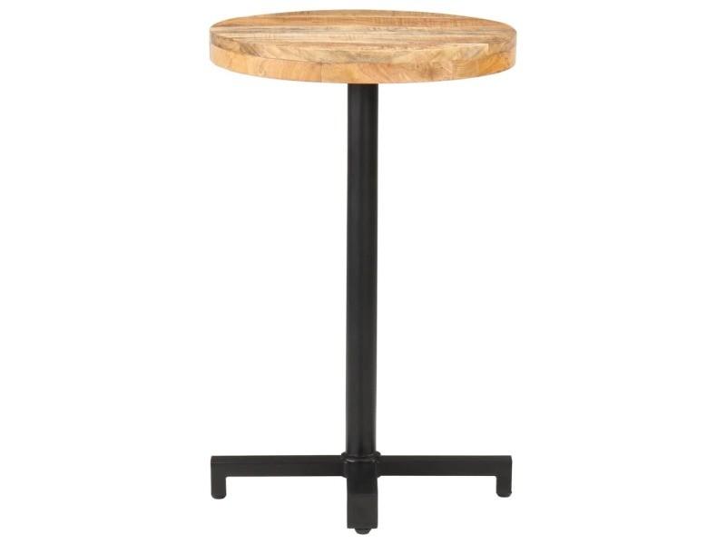 Vidaxl table de bistro ronde ø50x75 cm bois de manguier brut 320263