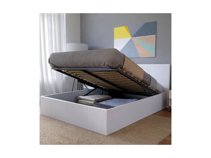 lit coffre barcelona 140x190 1 sommier blanc 03539 vente de lit adulte conforama. Black Bedroom Furniture Sets. Home Design Ideas