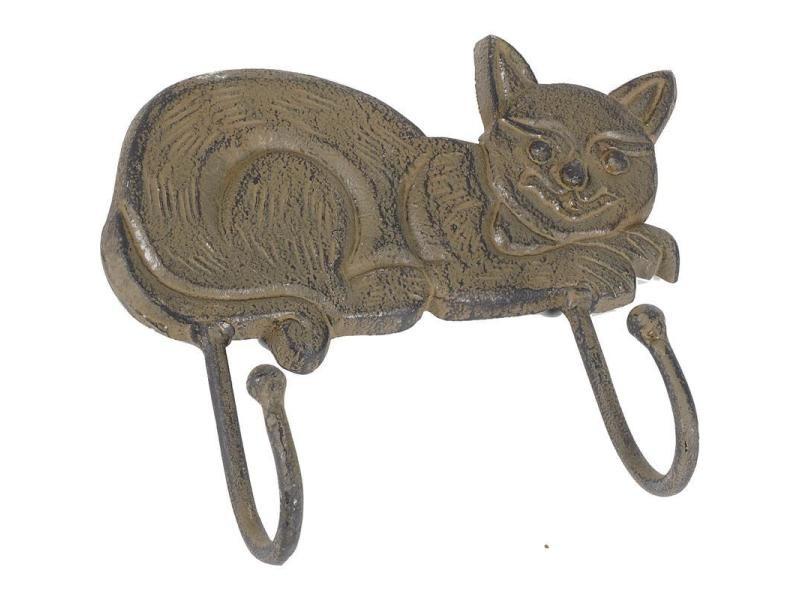 Patère chat en métal vieilli