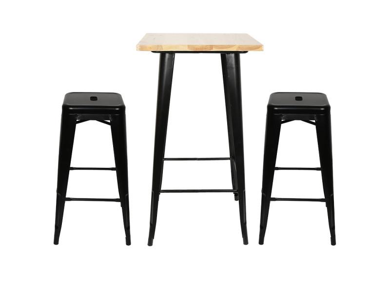 Hombuy® ensemble de table de bar couleur bois et 2 tabourets noir style industriel pour bistrot, cuisine, jardin, restaurant