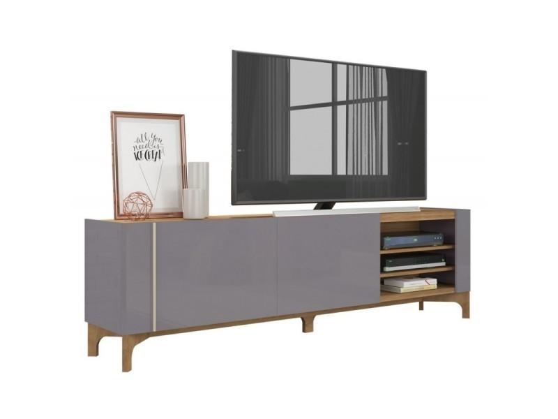 Meuble tv 72 pouces laqué gris et chêne