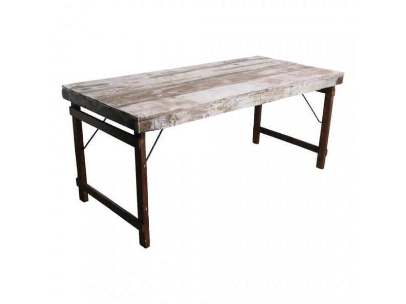 Vintage- table pliante bois blanc