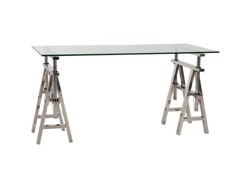 Bureau atelier réglage en acier et verre