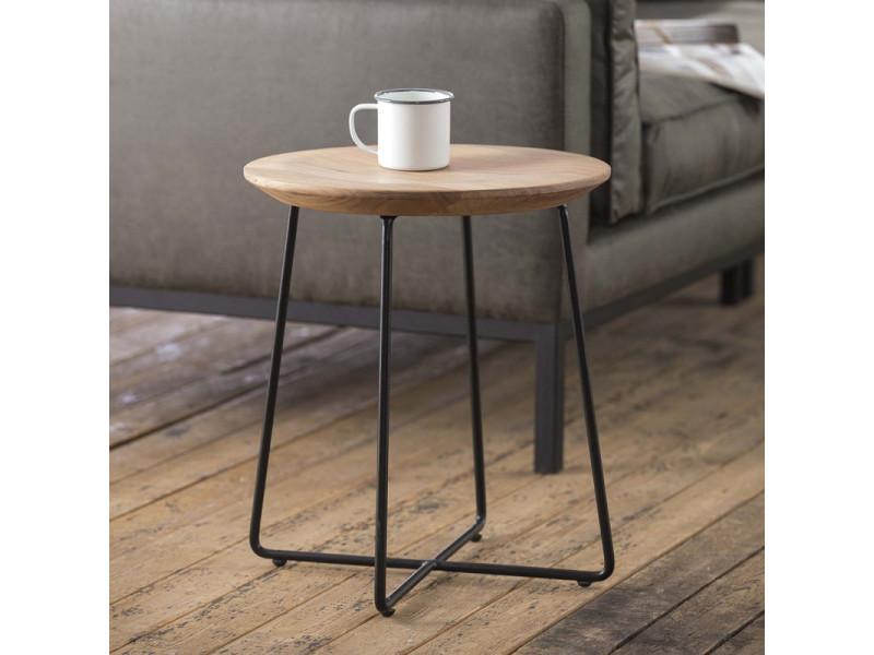 Table d'appoint industrielle avec plateau en acacia massif zaïda