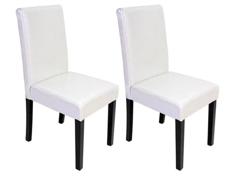 Lot de 2 chaises de salle à manger simili cuir blanc pieds