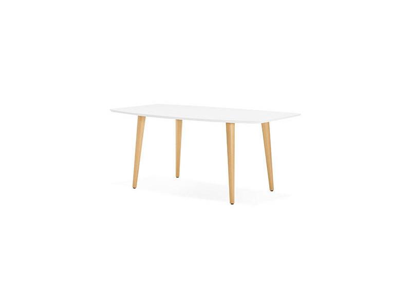 Table à manger extensible 170/270 cm blanc et naturel - baltic