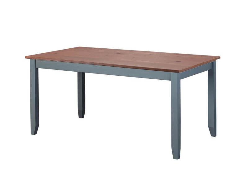 Bobochic table à manger sologne 160cm gris en bois massif