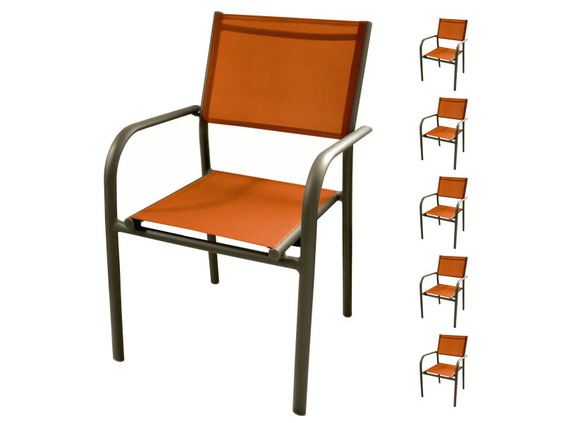 Fauteuil de jardin cancun orange (lot de 6) - Vente de ...