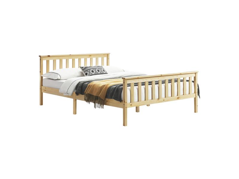 Cadre de lit design pour adultes en bois de pin à sommier à lattes lit double capacité de charge 150 kg 140 x 200 cm bois naturel [en.casa]