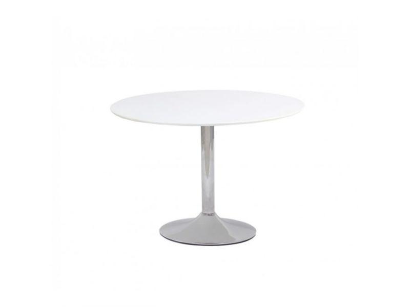 Flavio - table élégante pour intérieur moderne - 90x90x75 cm - pied central en métal - plateau en bois mdf - blanc