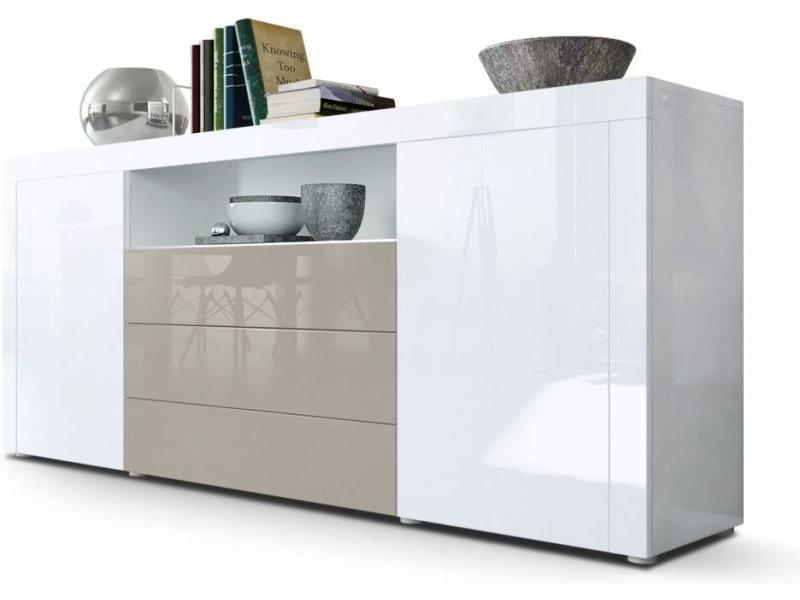 Buffet laqué blanc / gris sable 167 cm
