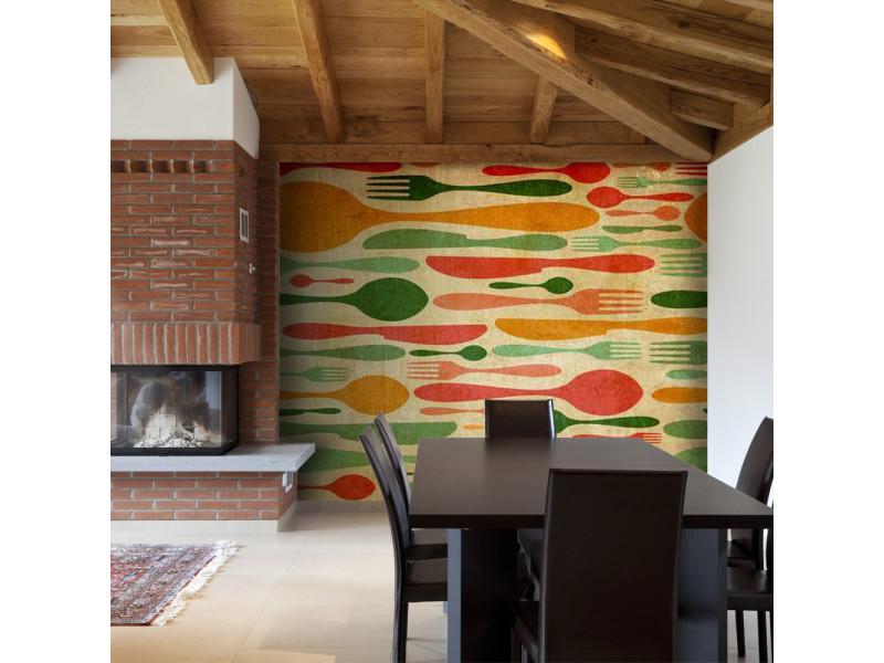 350x270 papier peint motifs de cuisine distingué couverts en vert et orange