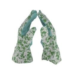 Cap vert - gants de rempotage avec picots - à fleurs - taille 7