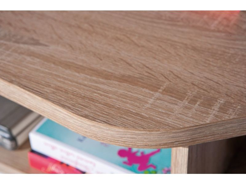 Bureau d angle avec rangement coloris sonoma chêne et blanc