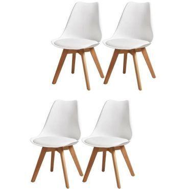 Bjorn lot de 4 chaises de salle a manger simili blanc