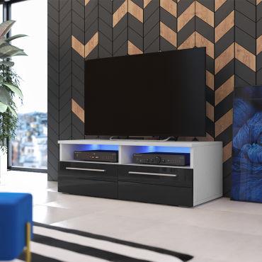 Meuble Tv Siena Avec Led 100 Cm Blanc Mat Noir Brillant Vente De Meuble Tv Conforama