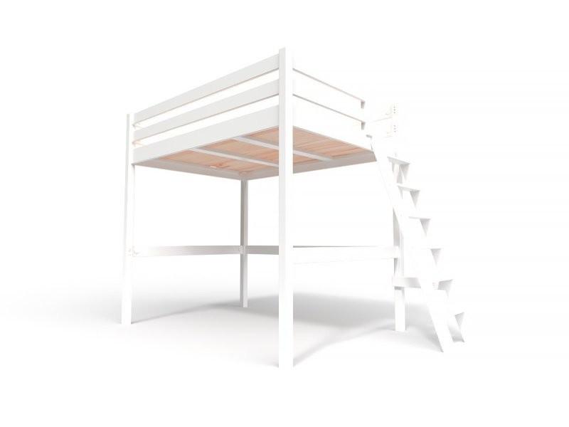 Lit mezzanine sylvia avec échelle bois 140x200 blanc SYLVIA140ECH-LB