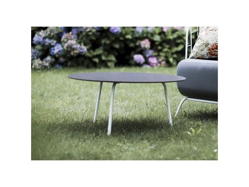Salon de jardin maj fauteuil et table basse ronde en acier ...