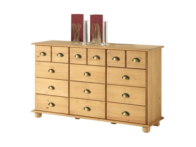 Commode colmar chiffonnier apothicaire rangement avec 12 tiroirs en pin massif finition teint e - Commode apothicaire conforama ...